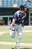 Pensacola Blue Wahoos outfielder Beau Amaral (8) in action during a game against the Jacksonville Suns at Bragan Field on the Baseball Grounds of Jacksonville on May 11, 2015 in Jacksonville, Florida. Jacksonville defeated Pensacola 5-4. (Robert Gurganus/Four Seam Images)