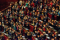 Roma 25  Febbraio 2014<br /> L'applauso della Camera dei Deputati a Pier Luigi Bersani che torna per il voto di fiducia a Renzi dopo la lunga malattia<br /> Rome, 25 February 2014<br /> The applause of the Chamber of Deputies for  Pier Luigi Bersani that  back for the vote of confidence to  Renzi after long illness.