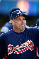 Atlanta Braves Manager Fredi Gonzalez #33 before a game against the Los Angeles Dodgers at Dodger Stadium on June 6, 2013 in Los Angeles, California. (Larry Goren/Four Seam Images)