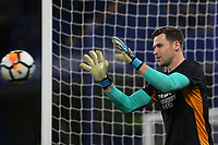 Hull City goalkeeper, David Marshall, warms up ahead of kick-off during Chelsea vs Hull City, Emirates FA Cup Football at Stamford Bridge on 16th February 2018