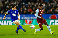 8th January 2020; King Power Stadium, Leicester, Midlands, England; English Football League Cup Football, Carabao Cup, Leicester City versus Aston Villa; Caglar Soyuncu of Leicester City attempts to stop a pass to Kortney Hause of Aston Villa - Strictly Editorial Use Only. No use with unauthorized audio, video, data, fixture lists, club/league logos or 'live' services. Online in-match use limited to 120 images, no video emulation. No use in betting, games or single club/league/player publications
