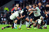 Kyle Sinckler of England takes on the Fiji defence. Old Mutual Wealth Series International match between England and Fiji on November 19, 2016 at Twickenham Stadium in London, England. Photo by: Patrick Khachfe / Onside Images