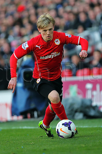 22.03.2014  Cardiff, Wales. Mats Moller Daehli of Cardiff City  in action during the Premier League game between Cardiff City and Liverpool from Cardiff City Stadium.