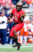 College Park, MD - OCT 27, 2018: Maryland Terrapins quarterback Kasim Hill (11) runs the football during game between Maryland and Illinois at Capital One Field at Maryland Stadium in College Park, MD. The Terrapins defeated Illinois to move to 5-3 on the season. (Photo by Phil Peters/Media Images International)