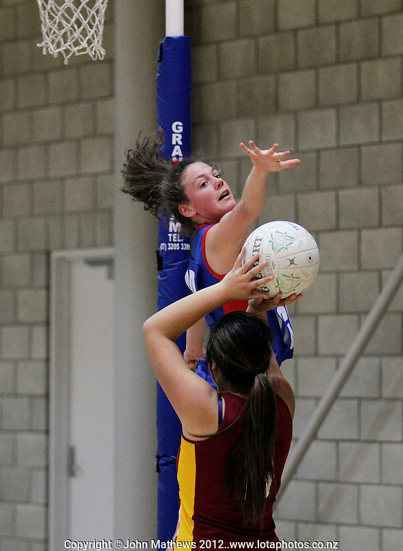 Action from the Division Two final between Heretaunga College and Chilton St James School during the Wellington Regional Secondary Schools Netball Tournament finals at the ASB Sports Centre, Kilbirnie, Wellington, New Zealand on Thursday, 17 May 2012. Photo: John Mathews / lintottphoto.co.nz