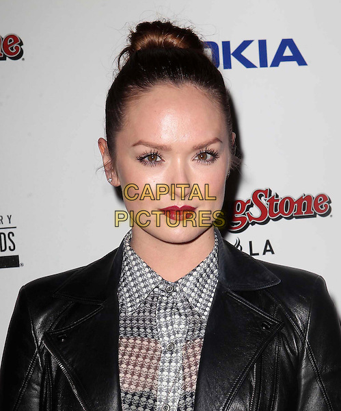 Kaylee DeFer.Rolling Stone American Music Awards 2012 After Party Held At Rolling Stone Restaurant & Lounge (RSLA), Hollywood, California, USA..November 18th, 2012.AMA AMAs headshot portrait hair up bun red lipstick  black leather jacket white sheer shirt blouse .CAP/ADM/KB.©Kevan Brooks/AdMedia/Capital Pictures.