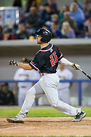 Richard Stock (25) of the New Jersey Jackals follows through on his swing against the Sussex County Miners at Skylands Stadium on July 29, 2017 in Augusta, New Jersey.  The Miners defeated the Jackals 7-0.  (Brian Westerholt/Four Seam Images)