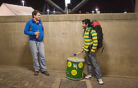 Brazillian Luiz Cirvallao (right) speaks about his drum with South African Grant White during a 2010 World Cup match at Ellis Park Stadium.  Chile played Brazil at Ellis Park in Johannesburg, South Africa on Monday, June 28, 2010.  Brazil defeated Chilie 3-0.