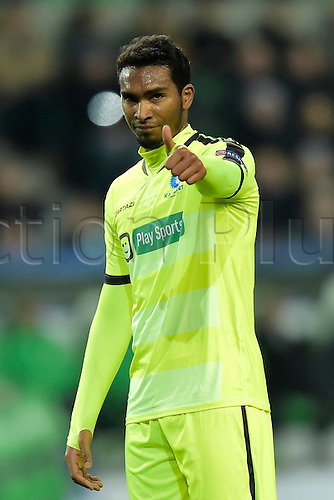 08.03.2016. Wolfsburg, Germany.  Neto Renato Cardoso midfielder of KAA Gent puts up his thumbs to the fans during the Champions League Round of 16, second leg match between VfL Wolfsburg and KAA Gent at the Volkswagen Arena in Wolfsburg, Germany.