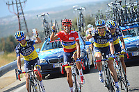 Alberto Contador celebrates with his partners the victory in La Vuelta during the stage of La Vuelta 2012 beetwen Cercedilla and Madrid.September 9,2012. (ALTERPHOTOS/Paola Otero)