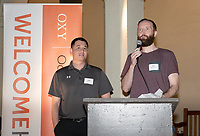 Chase Young '03<br /> Finn Rebassoo '03<br /> Now in his 30th year as Oxy's head men's basketball coach, Brian Newhall received a much deserved celebration with a surprise halftime ceremony and post game reception in the Booth Hall courtyard with more than 70 former and current players from all different generations and decades in attendance, on Saturday, Jan. 26, 2019.<br /> Newhall is the winningest coach in Oxy history and has a 100 percent graduation rate in his 30 years at the helm of the program. His resume boasts multiple SCIAC Championships and NCAA Playoff appearances, along with a run to the NCAA Division III Elite Eight in 2003 and the only perfect 14-0 season in SCIAC history. Newhall has not only coached at Oxy, but was a SCIAC Champion and SCIAC Player of the Year during his playing career at Oxy in the early 80s.<br /> (Photo by Marc Campos, Occidental College Photographer)