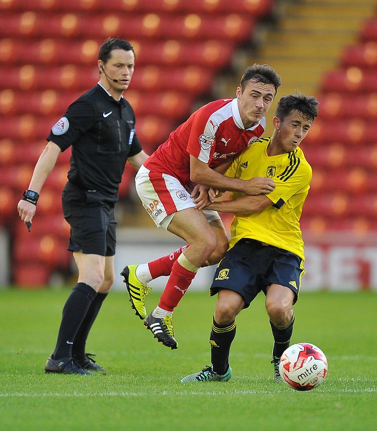 Barnsley's Josh Scowen battles with Middlesbrough's Lewis Maloney <br /> <br /> Photographer Dave Howarth/CameraSport<br /> <br /> Football - Football Friendly - Barnsley v Middlesbrough - Wednesday 29th July 2015 - Oakwell - Barnsley<br /> <br /> &copy; CameraSport - 43 Linden Ave. Countesthorpe. Leicester. England. LE8 5PG - Tel: +44 (0) 116 277 4147 - admin@camerasport.com - www.camerasport.com