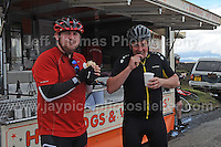 Competitors climb the challenging iconic and notorious 6km 10% stretch of road namely The Tumble during the Wales Velothon 2016 140km route cycling race. Some choose fast food at the half way point. <br /> <br /> <br /> Jeff Thomas Photography -  www.jaypics.photoshelter.com - <br /> e-mail swansea1001@hotmail.co.uk -<br /> Mob: 07837 386244 -