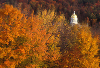 State House, State Capitol, fall, Montpelier, VT, Vermont, The dome of the State House in Montpelier is surrounded by colorful foliage in the autumn.