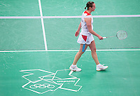 28 JUL 2012 - LONDON, GBR - Susan Egelstaff (GBR) of Great Britain leaves the court after winning her London 2012 Olympic Games women's singles group badminton match against Maja Tvrdy (SLO) of Slovenia at Wembley Arena, London, Great Britain .(PHOTO (C) 2012 NIGEL FARROW)