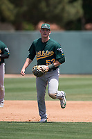 Oakland Athletics third baseman William Toffey (53) during an Extended Spring Training game against the San Francisco Giants Orange at the Lew Wolff Training Complex on May 29, 2018 in Mesa, Arizona. (Zachary Lucy/Four Seam Images)