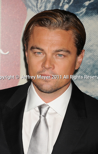 "HOLLYWOOD, CA - NOVEMBER 03: Leonardo DiCaprio attends AFI Fest 2011 Opening Night Gala World Premiere Of ""J. Edgar""at Grauman's Chinese Theatre on November 3, 2011 in Hollywood, California."