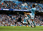 Leroy Sane of Manchester City scores the first goal during the premier league match at the Etihad Stadium, Manchester. Picture date 22nd September 2017. Picture credit should read: Simon Bellis/Sportimage