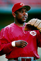 Terry Pendleton of the Cincinnati Reds during a game at Dodger Stadium in Los Angeles, California during the 1997 season.(Larry Goren/Four Seam Images)
