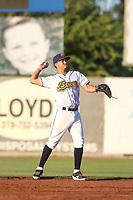 Burlington Bees shortstop Livan Soto (7) during a Midwest League game against the Clinton LumberKings on August 28, 2019 at Community Field in Burlington, Iowa.  Clinton defeated Burlington 5-0.  (Travis Berg/Four Seam Images)