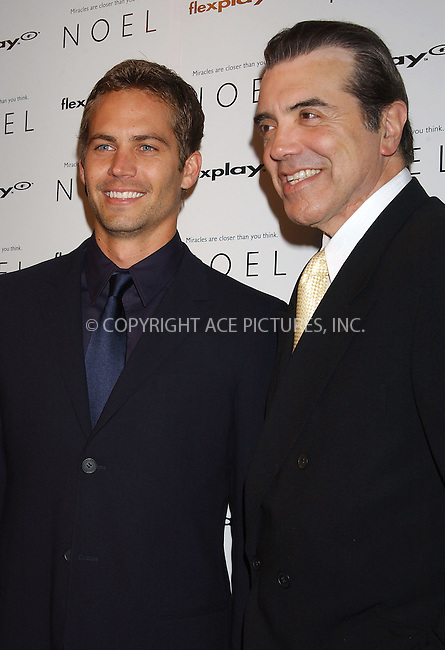 WWW.ACEPIXS.COM . . . . . ....NEW YORK, NOVEMBER 9, 2004....Chazz Palminteri and Paul Walker attend the premiere of 'Noel' in NYC.....Please byline: ACE006 - ACE PICTURES.. . . . . . ..Ace Pictures, Inc:  ..Alecsey Boldeskul (646) 267-6913 ..Philip Vaughan (646) 769-0430..e-mail: info@acepixs.com..web: http://www.acepixs.com