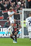 03.11.2018, BayArena, Leverkusen, GER, 1. FBL,  Bayer 04 Leverkusen vs. TSV 1899 Hoffenheim,<br />  <br /> DFL regulations prohibit any use of photographs as image sequences and/or quasi-video<br /> <br /> im Bild / picture shows: <br /> Kopfball durch Joelinton (Hoffenheim #34),  <br /> Jonathan Tah (Leverkusen #4), <br /> Foto &copy; nordphoto / Meuter