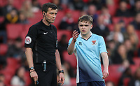 Blackpool U18's Finn Sinclair-Smith makes his point to Referee Craig Hicks<br /> <br /> Photographer Andrew Kearns/CameraSport<br /> <br /> Emirates FA Youth Cup Semi- Final Second Leg - Arsenal U18 v Blackpool U18 - Monday 16th April 2018 - Emirates Stadium - London<br />  <br /> World Copyright &copy; 2018 CameraSport. All rights reserved. 43 Linden Ave. Countesthorpe. Leicester. England. LE8 5PG - Tel: +44 (0) 116 277 4147 - admin@camerasport.com - www.camerasport.com