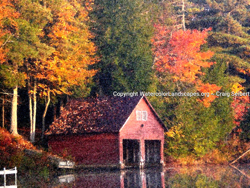 Watercolor, landscape, painting, sponge, artistic, photo, photography, photographs, stylized, texture, effects, Adirondacks, Craig Seibert,Fall, Autumn,Camp, Boathouse, Red