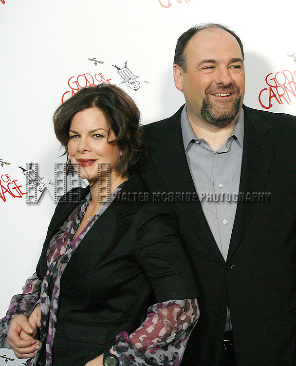 Marcia Gay Harden, James Gandolfini<br /> attending the &quot;God Of Carnage&quot; Meet &amp; Greet at the Hilton Theatre Rehearsal Studios in New York City.<br /> February 20, 2009