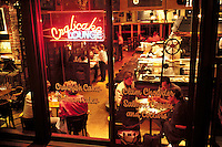 People Enjoying Meal At Crabcake Lounge; Ghirardelli Square; San Francisco, C