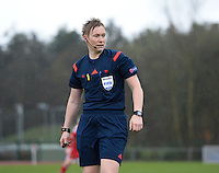 20150404 - FORST , GERMANY  : Norwegian referee Marte Soro  pictured during the soccer match between Women Under 19 teams of Belgium and Ukraine , on the first matchday in group 5 of the UEFA Elite Round Women Under 19 at WaldseeStadion , Forst , Germany . Saturday 4th April 2015 . PHOTO DAVID CATRY
