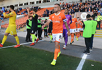 Blackpool's Jay Spearing leads the team out<br /> <br /> Photographer Kevin Barnes/CameraSport<br /> <br /> The Carabao Cup First Round - Blackpool v Macclesfield Town - Tuesday 13th August 2019 - Bloomfield Road - Blackpool<br />  <br /> World Copyright © 2019 CameraSport. All rights reserved. 43 Linden Ave. Countesthorpe. Leicester. England. LE8 5PG - Tel: +44 (0) 116 277 4147 - admin@camerasport.com - www.camerasport.com