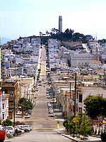 View down San Francisco street leading to Coit Tower, California USA