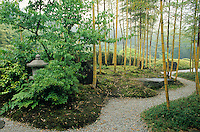 This bamboo grove with its dry stream, or  karesansui, creates a feeling of peace and timlessness.