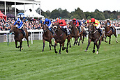 24th August 2018, York Races, Yorkshire, England;  Alpha Delphini (second from right) with Graham Lee up wins the Nunthorpe Stakes. York racecourse.