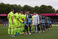 The teams pre match handshakes during the Sky Bet League 2 match between Wycombe Wanderers and Hartlepool United at Adams Park, High Wycombe, England on 5 September 2015. Photo by Andy Rowland.