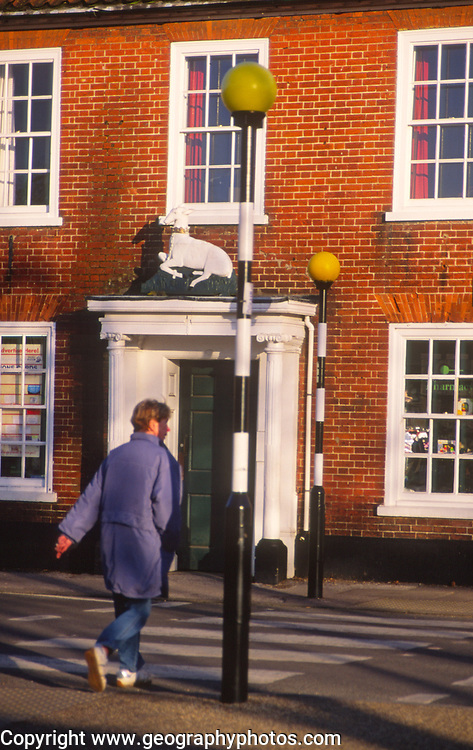 A5EWYF Person at belisha beacon zebra crossing  Wickham Market Suffolk England
