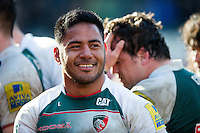 Manu Tuilagi of Leicester Tigers is all smiles after the match. Aviva Premiership match, between Leicester Tigers and Gloucester Rugby on April 2, 2016 at Welford Road in Leicester, England. Photo by: Patrick Khachfe / JMP