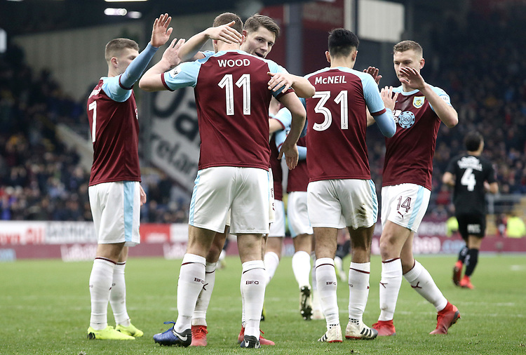 Burnley's Chris Wood celebrates with team-mate James Tarkowski after scoring the winning goal from the penalty spot<br /> <br /> Photographer Rich Linley/CameraSport<br /> <br /> Emirates FA Cup Third Round - Burnley v Barnsley - Saturday 5th January 2019 - Turf Moor - Burnley<br />  <br /> World Copyright © 2019 CameraSport. All rights reserved. 43 Linden Ave. Countesthorpe. Leicester. England. LE8 5PG - Tel: +44 (0) 116 277 4147 - admin@camerasport.com - www.camerasport.com