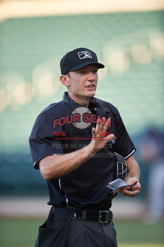 Home plate umpire Michael Corbett during an Arizona League game between the AZL Padres 1 and the AZL Cubs 1 on July 5, 2019 at Sloan Park in Mesa, Arizona. The AZL Cubs 1 defeated the AZL Padres 1 9-3. (Zachary Lucy/Four Seam Images)