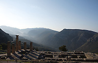 DELPHI, GREECE - APRIL 11 : A general view of the Temple of Apollo overlooking the slopes of the Mount Parnassus at sunrise, on April 11, 2007 in the Sanctuary of Apollo, Delphi, Greece. The ruins of the Temple of Apollo belong to the 4th century BC, the third temple built on the site, still in the Doric order and completed in 330BC. Its architects were the Corinthians Spintharos Xenodoros and Agathon. (Photo by Manuel Cohen)