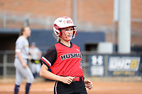 GREENSBORO, NC - MARCH 11: Kara Apato #16 of Northern Illinois University during a game between Northern Illinois and UNC Greensboro at UNCG Softball Stadium on March 11, 2020 in Greensboro, North Carolina.