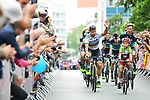 World Champion Peter Sagan (SVK) and Bora-Hansgrohe at the Team Presentations for the 105th Tour de France 2018 held on Napoleon Square in La Roche-sur-Yon, France. 5th July 2018. <br /> Picture: ASO/Alex Broadway | Cyclefile<br /> All photos usage must carry mandatory copyright credit (&copy; Cyclefile | ASO/Alex Broadway)