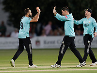Imran Tahir (L) of Surrey is congratulated by Jade Dernbach after taking the wicket of Zak Crawley during Kent Spitfires vs Surrey, Vitality Blast T20 Cricket at the St Lawrence Ground on 23rd August 2019