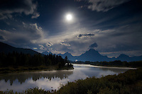 Moon over Oxbow Bend in Grand Teton National Park<br />