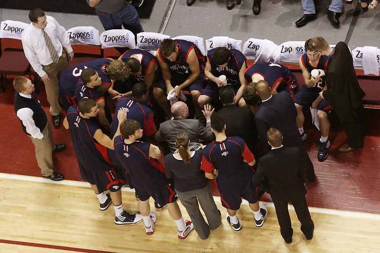 LAS VEGAS, NV - MARCH 8:  The team during Saint Mary's 81-62 win over the Gonzaga Bulldogs in the championship game of the 2010 Zappos West Coast Conference Basketball Championships on March 8, 2010 at Orleans Arena in Las Vegas Nevada.