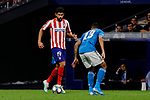 Diego Costa of Atletico de Madrid and Danilo of Juventus during UEFA Champions League match between Atletico de Madrid and Juventus at Wanda Metropolitano Stadium in Madrid, Spain. September 18, 2019. (ALTERPHOTOS/A. Perez Meca)
