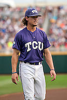 TCU Horned Frogs outfielder Cody Jones (1) warms up before the game against the LSU Tigers in Game 10 of the NCAA College World Series on June 18, 2015 at TD Ameritrade Park in Omaha, Nebraska. TCU defeated the Tigers 8-4, eliminating LSU from the tournament. (Andrew Woolley/Four Seam Images)