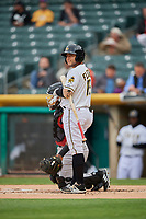 David Fletcher (15) of the Salt Lake Bees bats against the Sacramento River Cats at Smith's Ballpark on April 19, 2018 in Salt Lake City, Utah. Salt Lake defeated Sacramento 10-7. (Stephen Smith/Four Seam Images)