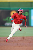 Clearwater Threshers third baseman Raul Rivas (13) runs the bases during a game against the Jupiter Hammerheads on April 9, 2018 at Spectrum Field in Clearwater, Florida.  Jupiter defeated Clearwater 9-4.  (Mike Janes/Four Seam Images)